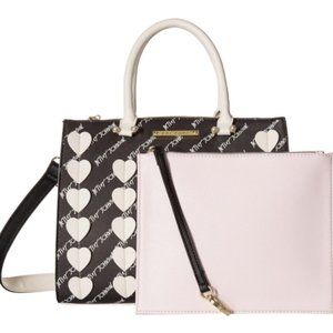 2 in 1 Betsey Johnson Black White Bag In Bag Heart